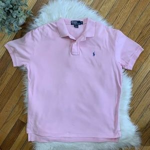 Men's Medium Ralph Lauren Polo Shirt Pink 3 Button